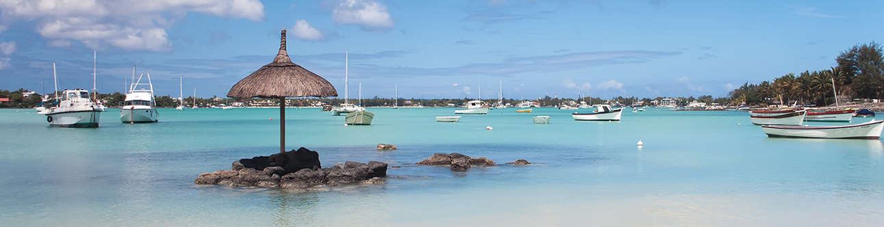 The beautiful view of Grand Baie in Mauritius