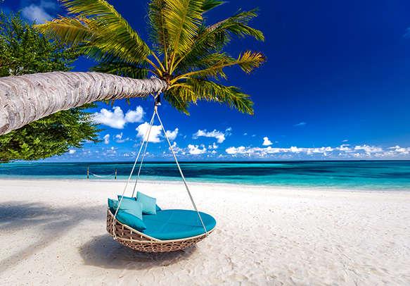 Beautiful beach on tropical island in Seychelles