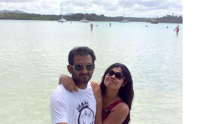 The serene blue beach of Mauritius