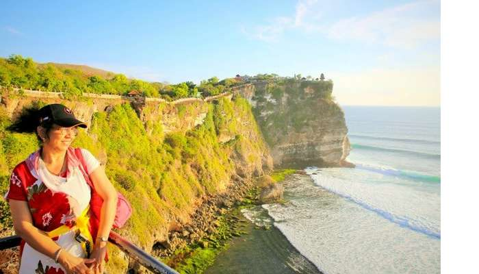 Beautiful view of a clear sky and blue water from the Uluwatu Temple