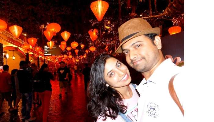 Bhargav and his wife on Genting Island