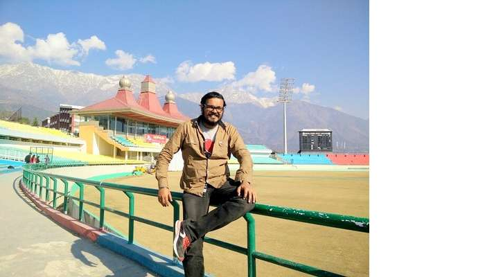 Sundar at the cricket ground in Dharamshala