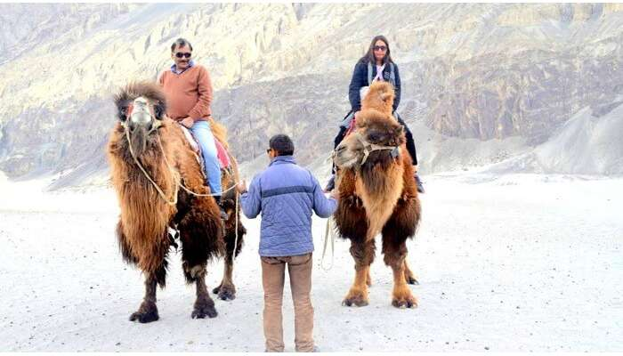Anuradha and her husband enjoying s Yak ride in Leh