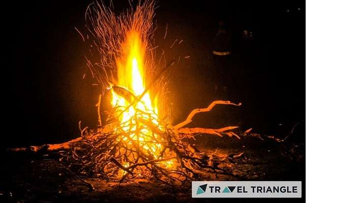 Bonfire celebration in Triund