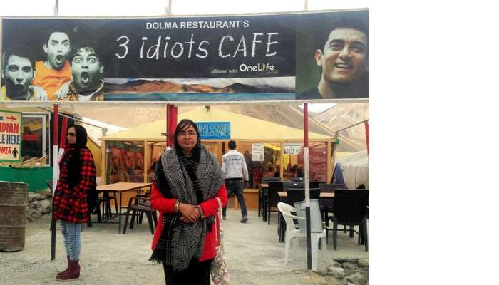 Anuradha at the 3 idiots cafe in Leh