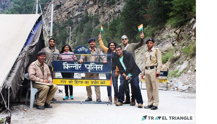 Lehan and group celebrating Independence Day with police officers in Himachal