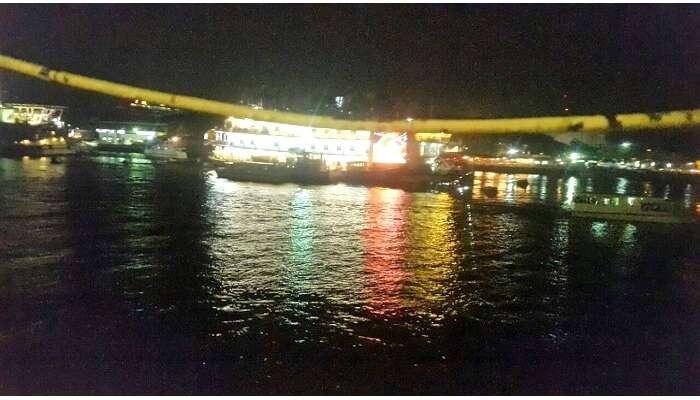 Enjoying the glimmering lights on cruise