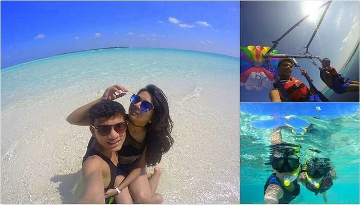 Nisarg and his wife in Maldives having a great time