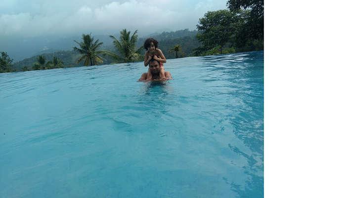 hotel pool in munnar
