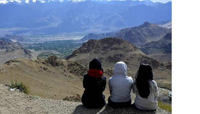 chilling by the pangong lake