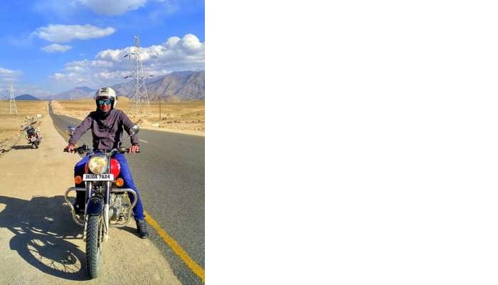 ninad riding bike across ladakh