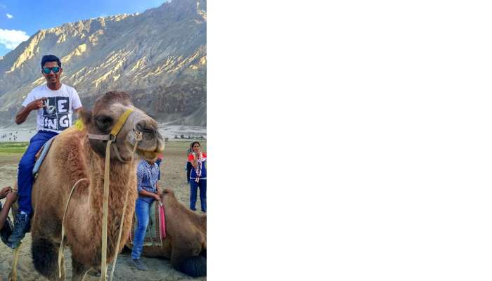 ninad riding camel in nubra