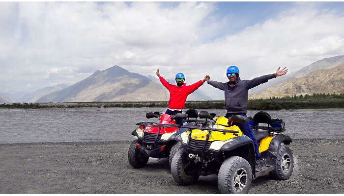 ninad riding atv bikes in ladakh