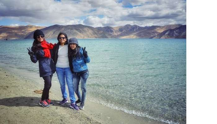chilling by pangong lake