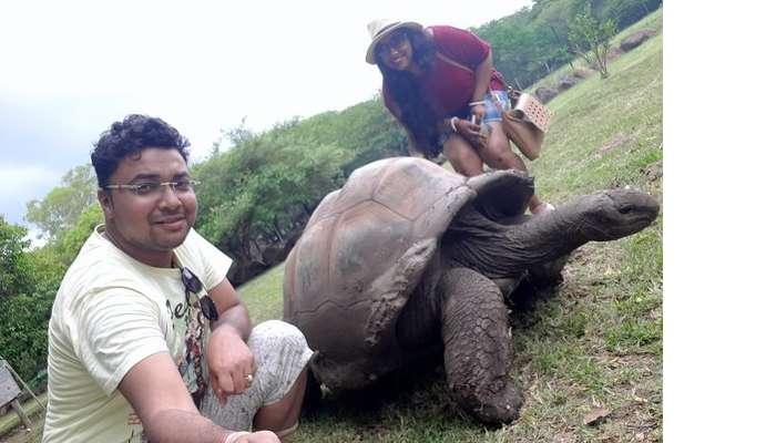 Himanshu honeymoon trip to Mauritius: interacting with tortoises