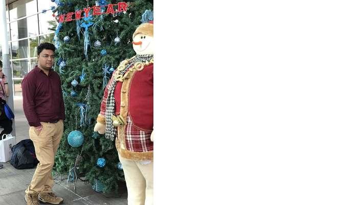 Himanshu honeymoon trip to Mauritius: christmas decor at airport