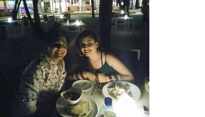 ankit wadhwa maldives honeymoon: candlelight dinner