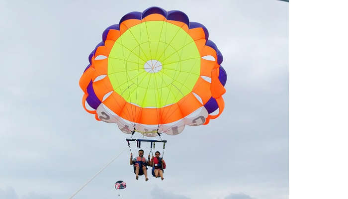 Couple parasailing in Bali