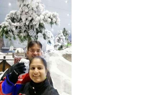 ashish singhal dubai honeymoon trip: in ski dubai snow park