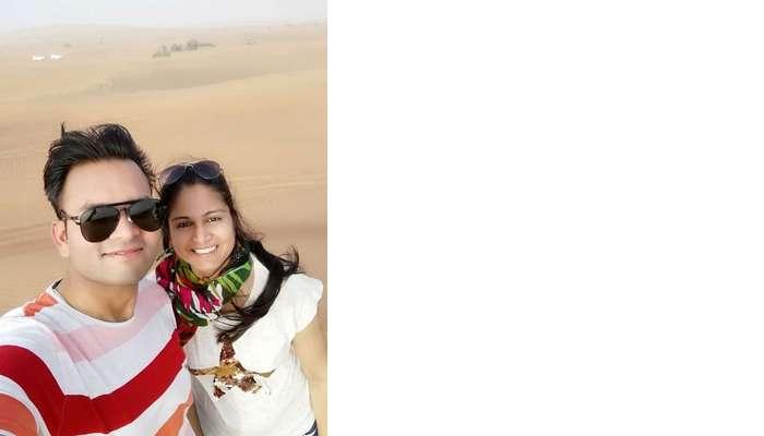 ashish singhal dubai honeymoon trip: during desert safari