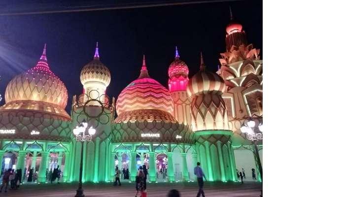 ashish singhal dubai honeymoon trip: global village at night