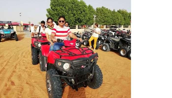 ashish singhal dubai honeymoon trip: quad biking