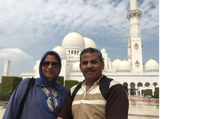 at the famous Dubai mosque