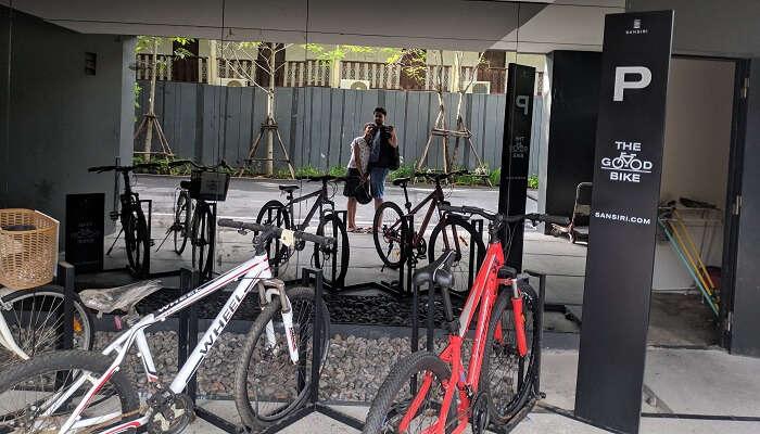 at the bike showroom