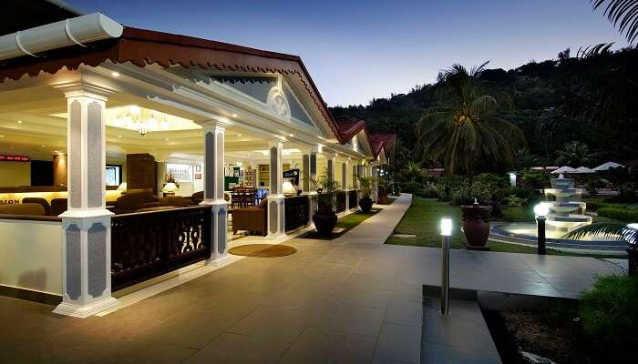 The main entrance of the Berjaya Praslin Resort