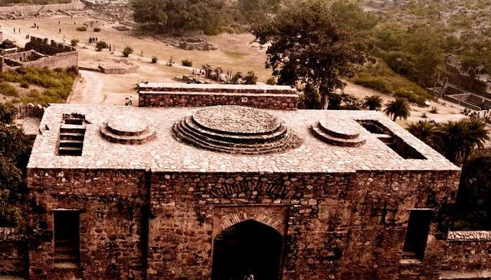 An aerial view of the haunted Bhangarh house