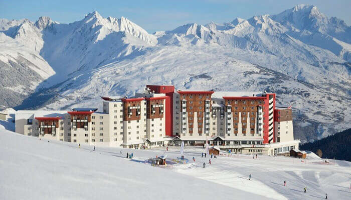A view of the Club Med Hotel at La Plagne ski resort
