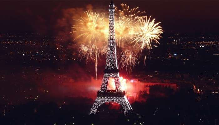 An illuminated Eiffel Tower during New Year celebrations