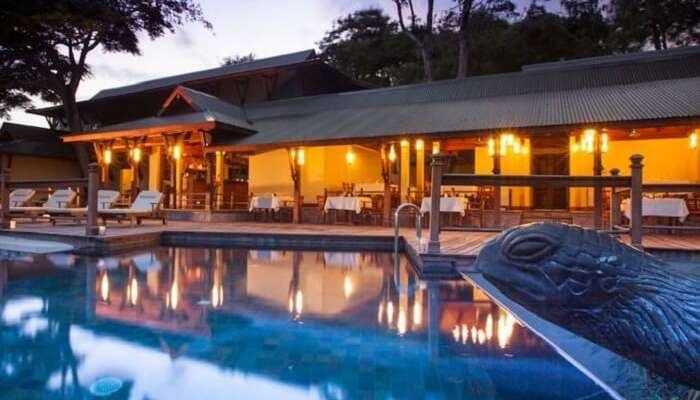 Poolside dining at Enchanted Island Resort in Seychelles