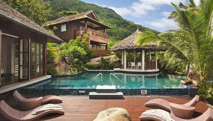 The pool attached to the Presidential Suite of the Hilton Resort in Seychelles