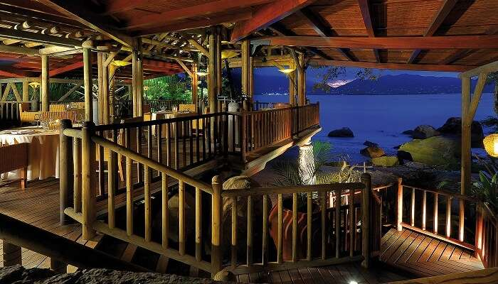 The Le Mont Fleuri dining area at the Beachcomber resort in Seychelles
