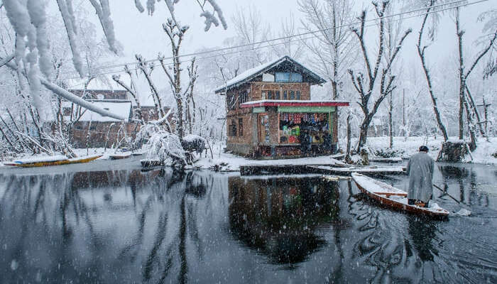 Dal Lake during snowfall in Kashmir
