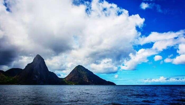 St.Lucia'nın güzel manzarası