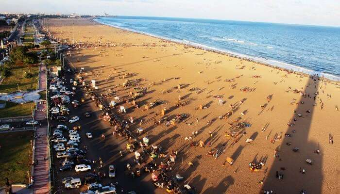 The longest beach in the country, Marina Beach in Chennai