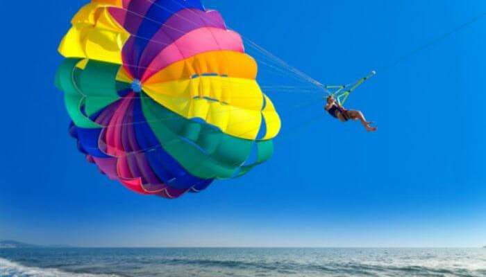 Parasailing combines the fun of sky and water sports in Mauritius