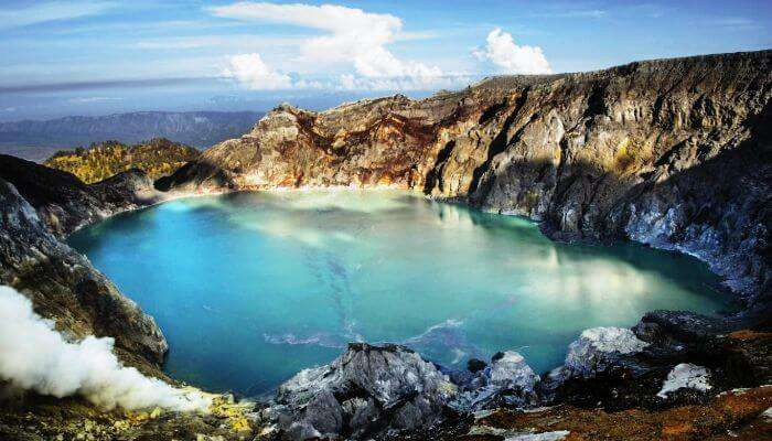 Ijen in East Java is a group of volcanoes in Indonesia