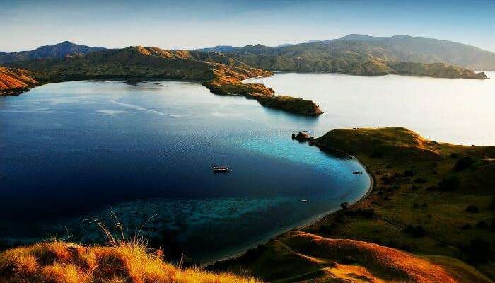 Aerial view of the Komodo National Park - a UNESCO World Heritage Site in Indonesia