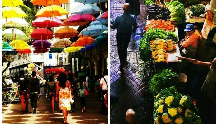 Two shots of Port Louis Bazaar and Central Market in Mauritius