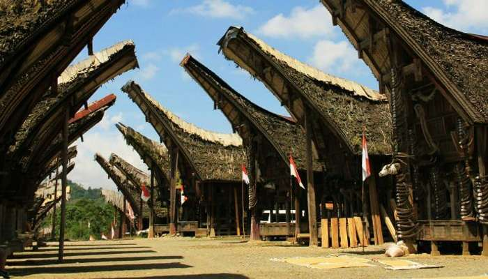 Unique house structure at Torajaland in Indonesia