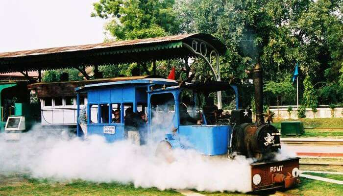 A toy train ride in Delhi