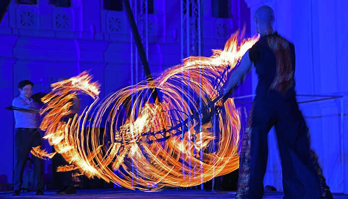 A fire artist performing during the Singapore Art Festival