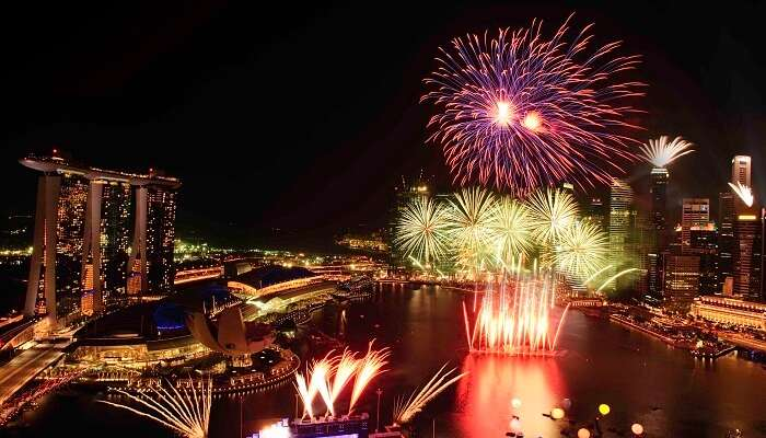 A fireworks display from Marina Bay