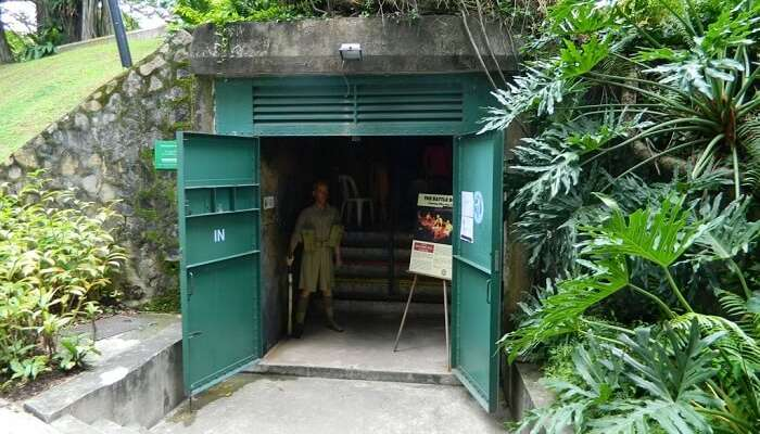 The entrance to Battle Box one the historical places in Singapore which are underground