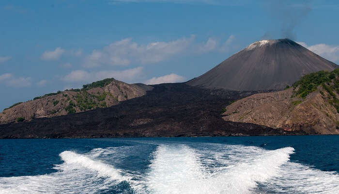 A view of the active volcano at Barren Islands