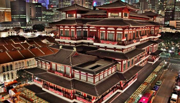 An aerial view of the Buddha Tooth Relic Temple