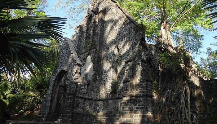 A view of the church in ruins at the Ross island
